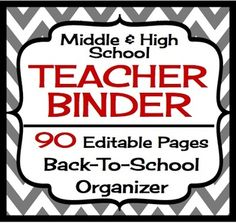 Back To School Teacher Binder For Middle High - Grey and Red Chevron