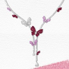 Mademoiselle B. Necklace Price, Shape And Form, Pink Sapphire, Necklace Designs, 18k Gold, Mosaic, Delicate, Pendants, Jewels