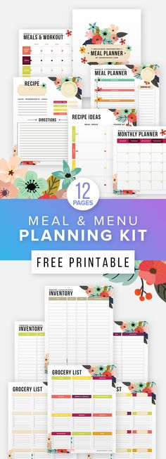 Free Printable Meal Planner & Printable Fitness Planner - get your beautiful free menu and meal planner!