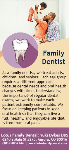 As a family dentist, we treat adults, children, and seniors. Each age group requires a different approach because dental needs and oral health changes with time. #FamilyDentist #Dentist #OralHealth