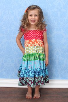 The Pinwheel Dress in Annie Boutique Rainbow Twirl by Ourfox