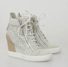 Giuseppe Zanotti Grey Suede Crystal Studded High Top Wedge Sneakers