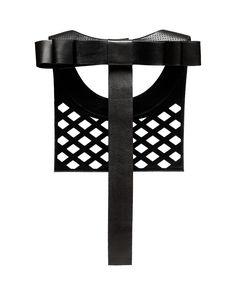 Daniel Havillio leather bib necklace. Athika lamb nappa necklace. Perforated leather & bow. Leather Jewelry. www.danielhavillio.com