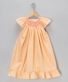 This Orange Smocked Gingham Angel-Sleeve Dress - Infant & Toddler by Petit Pomme is perfect! #zulilyfinds