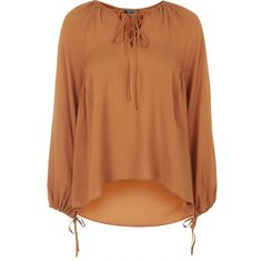 TOPSHOP Jaquard Poet Blouse ($68) ❤ liked on Polyvore featuring tops, blouses, shirts, rust, tie front blouse, silk blouses, jacquard shirt, tie front top and tie front shirt