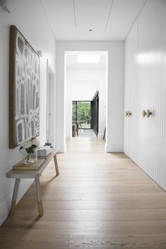 Such a free flowing, light filled space with our White Smoked floorboards to compliment the soft aesthetic of the house. Australian Interior Design, Interior Desing, Home Design, Design Design, Royal Oak Floors, Hallway Cupboards, Bedroom Cupboards, Kitchen Cabinets, Hallway Inspiration