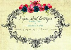 Vintage Style Frame and Roses Business Card Template Personalized YOU PRINT Includes Text