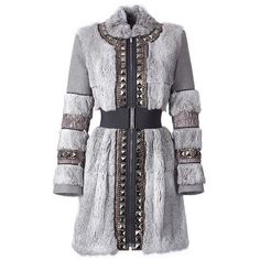 Stone Beaded Panelled Coat With Belt Matthew Williamson ($1,610) ❤ liked on Polyvore featuring outerwear, coats, jackets, dresses, knee length trench coat, slim fit trench coat, slim fit coat, grey trench coat and waist slimming belt