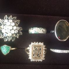 Lot 6 Vintage Costume Jewelry Rings Queen of Hearts Faux Cocktail Mood Ring | eBay