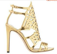 fashion newest women gold silver high heel Hollow leather sandals wedding sandals