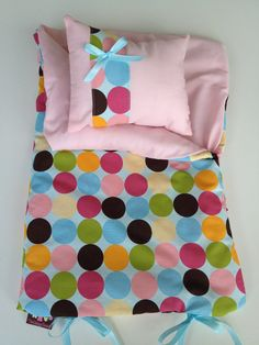 "Last One. Doll Sleeping Bag -""lots Of Dots."" Fits 18 Inch American Girl - Sale…"