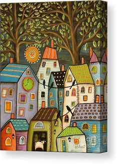 Night Cityscape Painting Canvas Print featuring the painting Evening Song by Karla Gerard Karla Gerard, Art Fantaisiste, Sheep Paintings, House Quilts, Naive Art, Whimsical Art, House Painting, Fine Art America, Folk Art