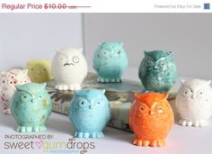50�0OFF Ceramic Owl - Artist choice of color - pinned by pin4etsy.com