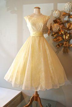 Vintage 1950s Lemon Chiffon Floral Prom Dress
