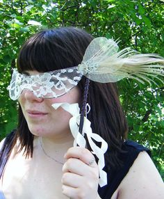White Lace Mask with Ivory peacock Feather by EquinoxMasquerade