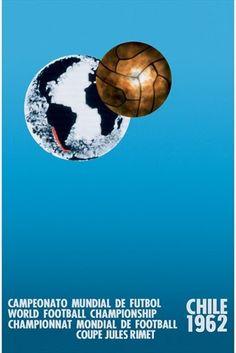 Cartel oficial de la Copa Mundial de la FIFA. Chile 1962. 16 selecciones nacionales participaron en la fase final. Final del campeonato 17 de Junio 1962. Estadio Nacional, Santiago. Brasil 3-1 Checoslovaquia
