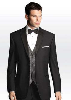 #SavviFormalwear Black Vette by Joseph Abboud - Luxury wool, 2 button, Black, Shown with non pleated Lux microfiber shirt and silver Synergy vest and silver Fusion tie.