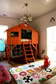 DIY Childrens House Bed Loft - when I have a kid, they will definitely be getting this. Awesome!