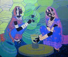 Buy 'Festive Rhythm 13' a beautiful painting by Indian Artist Anuradha Thakur