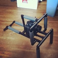 """My DIY camera shoulder rig! Made mostly out of PVC pipe from Home Depot."" by @octicide"