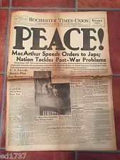 "ORG. Aug. 15, 1945 Newspaper, Rochester NY -""PEACE!""  16 pgs.  [6-67"