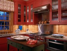 Hunting Lodge Oxford Maryland Traditional Kitchen Dc Metro Johnson Berman Love The Red Cabinets