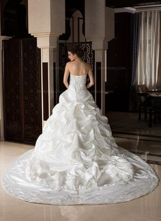 Ball-Gown Sweetheart Royal Train Satin Wedding Dress With Embroidered Ruffle Beading (002033766) - JJsHouse