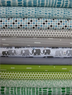 Fabricworm Custom Bundle, Busy Elephants in FAT QUARTERS 11 Total