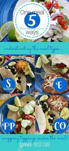The Trim Healthy Mama meal types can be confusing, but this breaks it down so you can see how to make one meal into any of the 5 THM meal types!