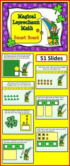 St. Patrick's Day SMART BOARD Magical Leprechaun Math