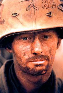 ROBERT ELLISON, Khe Sanh, Vietnam, 1968 - The Marines were under siege for several months at Khe Sanh. This portrait was published in NEWSWEEK after Ellison was killed.  (Black Star).