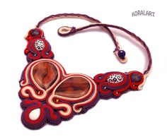 Soutache collar de vainilla y bayas de KoralArt por DaWanda.com