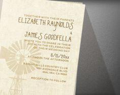 Rustic Windmill Wedding Invitation