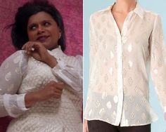 """Mindy wore this gold printed ivory blouse with a metallic jacquard dress in """"Think Like A Peter"""". It happens to be on sale now! /// Hale Bob Silk Jacquard Top - $170 (was $277) Worn with Ralph Lauren dress"""