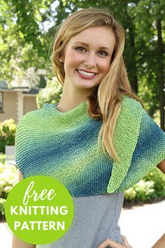 Easy Knitting Project! Asymmetric Shawl Free Knitting Pattern uses 2 balls of self striping Plymouth Pendenza Cotton yarn
