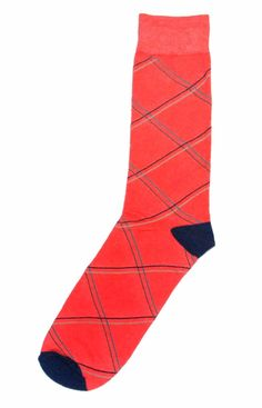 Coral Navy Argyle Wedding Groomsmen Men's Dress Socks - Statement ...