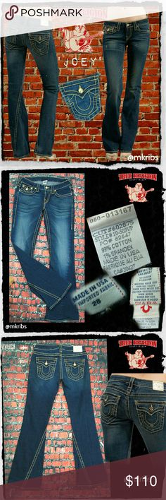 True Religion Crystal Joey Gold 28 x 32 jeans LIKE NEW!!  Joey Disco Gold low rise, flare jeans with Swarovski crystal rivets in gold and gold hem.  32 inch inseam. Even more details in photos.  Light stretch, dark wash with light factory whiskering through thighs. Excellent condition, worn twice. Retails at $279.00! What a steal! NO TRADES True Religion Jeans