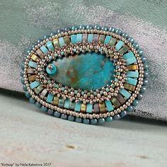 Beaded Brooch, Beaded Choker, Beaded Jewelry, Handmade Jewelry, Beading Projects, Beading Tutorials, Turquoise Beads, Turquoise Bracelet, Beaded Spiders