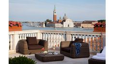 The Luna Hotel Baglioni, Venice, has launched a new San Giorgio Terrace Suite. It comprises living and dining area, two bedrooms, as a private terrace overlooking San Giorgio Island Best Hotels In Venice, Hotels With Balconies, Grand Canal, Great Hotel, Places Around The World, Hotels And Resorts, Luxury Travel, Nice View, Palazzo