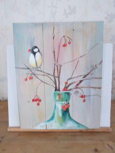 vogeltje op tak. acryl op houten paneel. afm 40x 50 cm te koop voor 50 euro.