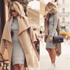 Fierce gray sweater crop top and knee length pencil skirt for winter