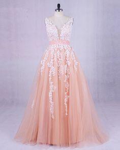 Champagne tulle V neck long A-line customize senior prom dress for 2018