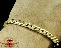 10k-Real-Yellow-Gold-Mens-Womens-Solid-Cuban-Curb-Link-Bracelet-Chain5mm-7-Inch Personalized Necklace, Cuban, Link Bracelets, Necklaces, Yellow, Gold, Women, Chain, Collar Necklace