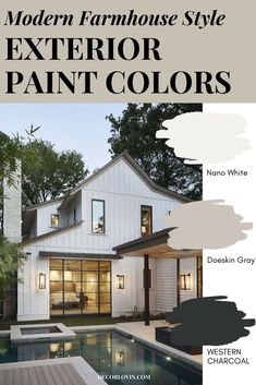 Modern Farmhouse Paint Colors For Your Exterior The best color combinations for your modern farmhouse style exterior! Paint your home with confidence using these great modern farmhouse paint colors. Exterior Paint Color Combinations, Exterior Paint Colors, Exterior Design, Paint Colours, Colour Schemes, Color Palettes, Color Trends, Farmhouse Exterior Colors, Farmhouse Paint Colors