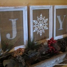 Burlap and a Dollar Tree Ornament Joy Sign