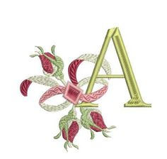 Rose Bud Alpha Embroidery Monogram, Embroidery Applique, Machine Embroidery Designs, Embroidery Ideas, Alpha Letter, Beautiful Fonts, Monogram Styles, Rose Buds, Alphabet