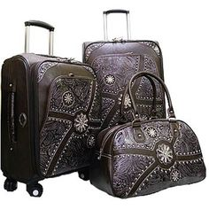 Western Style Floral Embossed & Studded 3 piece Luggage Set - Coffee Brown  $299.99  www.wantedwardrobe.com  #travel #luggage