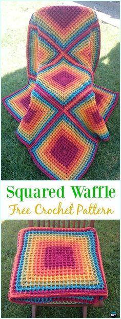 Crochet Squared Waffle Free Pattern- Crochet Waffle Stitch Free Patterns & Variations
