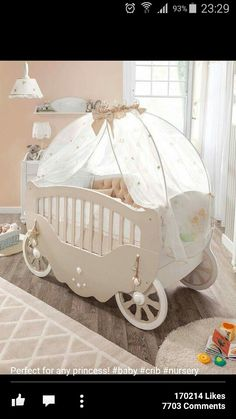 such a beautiful baby carrige cot perfect for a fairytale theme nursrey