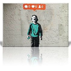 Canvas Print Wall Art - There is always hope - Girl and red heart balloon - Street Art - Guerilla - Banksy Street Artwork on Canvas Stretched Gallery Wrap. Ready to Hang - 24 x 36 inches Christmas Art Projects, Easy Art Projects, Diy Canvas Art, Artist Canvas, Tinta Hp, Wall Art Prints, Canvas Prints, Street Art Banksy, Vintage Illustration Art